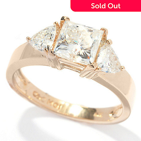 133-418 - Estrella Moissanite 14k Gold 1.90 DEW Square & Trillion Three-Stone Ring