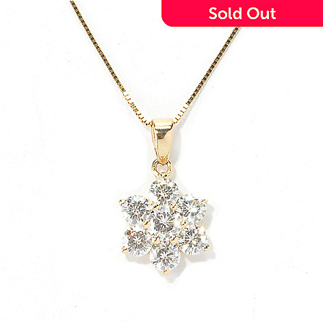 133-420 - Forever Brilliant Moissanite 14K White Gold Cluster Flower Pendant w/ Chain