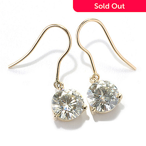 133-422 - Forever Brilliant Moissanite 14K Gold 2.40 DEW Round Brilliant Cut Drop Earrings