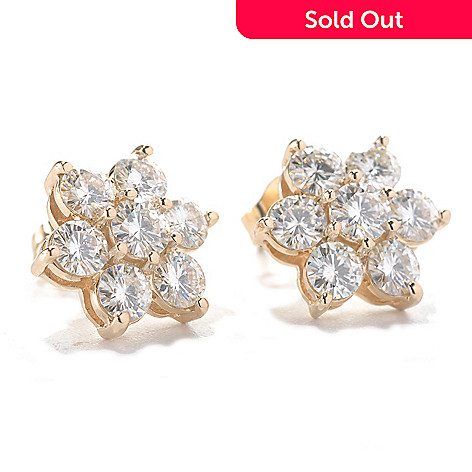 133-423 - Estrella Moissanite 14k Gold 1.88 DEW Cluster Flower Stud Earrings