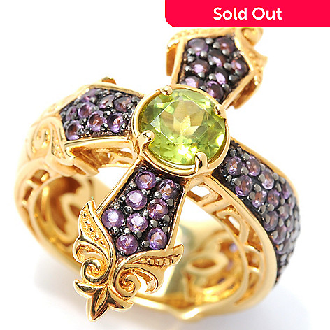 133-447 - Dallas Prince 2.13ctw Peridot & Amethyst Center Cross Ring