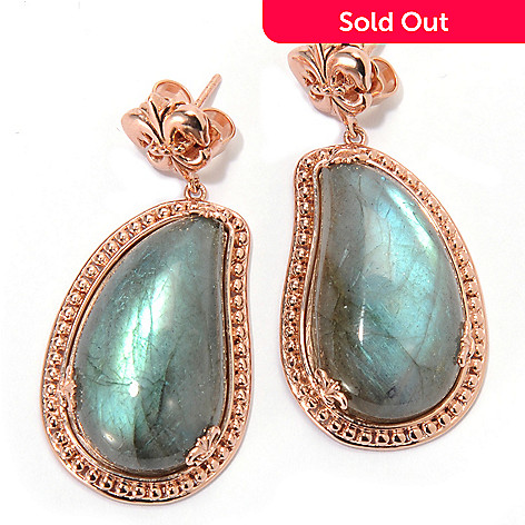 133-454 - Dallas Prince 1.75'' 28 x 16mm Freeform Labradorite Drop Earrings
