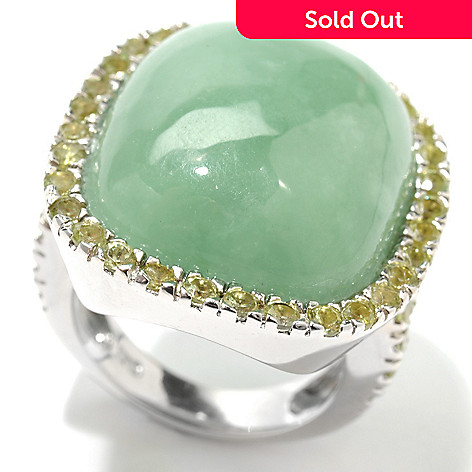 133-456 - Gem Insider Sterling SIlver 21 x 18mm Jade & Peridot Halo Split Shank Ring