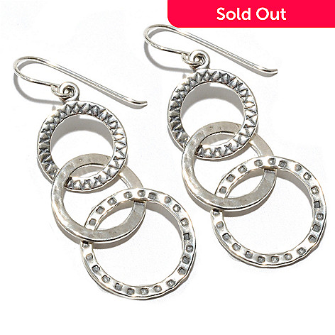 133-461 - Passage to Israel™ Sterling Silver 2'' Interlinked Circle Trio Drop Earrings