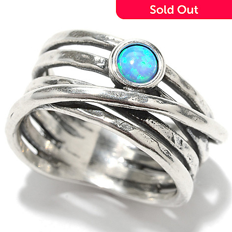 133-463 - Passage to Israel™ Sterling Silver 4mm Simulated Blue Opal Overlay Multi Row Ring