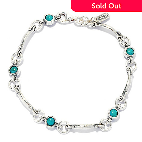 133-464 - Passage to Israel Sterling Silver 7.5'' Turquoise Hammered Bracelet
