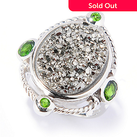 133-466 - Gem Insider™ Sterling Silver 16 x 12mm Drusy & Gemstone Rope Frame Ring