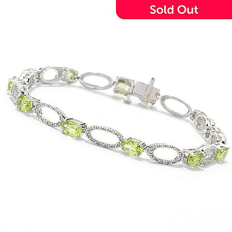 133-469 - Gem Insider™ Sterling Silver 7.5'' 5.75ctw Peridot & White Topaz Bracelet