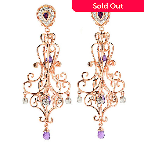 133-470 - Dallas Prince 3'' 4.87ctw Amethyst & White Sapphire Chandelier Earrings