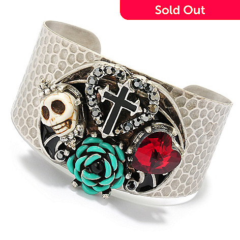 133-485 - Sweet Romance™ 6.75'' Magnesite, Crystal & Glass Textured Cuff Bracelet