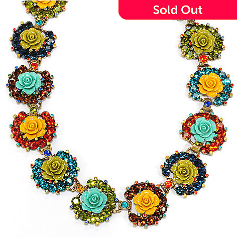 133-487 - Sweet Romance 17'' Multi Color Crystal & Resin Rose Collar Necklace