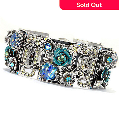 133-488 - Sweet Romance™ 8'' Multi Color Glass & Crystal Night Rose Panel Textured Bracelet