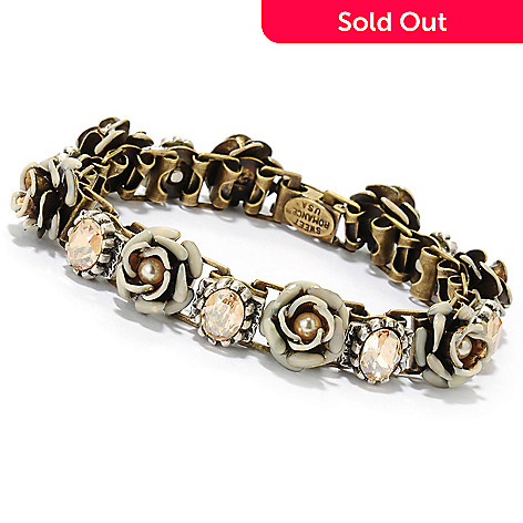 133-492 - Sweet Romance 7.5'' Crystal & Heirloom Rose Line Bracelet