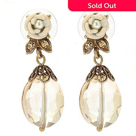 133-493 - Sweet Romance 1.5'' Heirloom Rose Crystal & Glass Drop Earrings