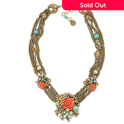 133-494 - Sweet Romance™ Floral Garland Pendant w/ 19.5'' Multi Strand Station Necklace