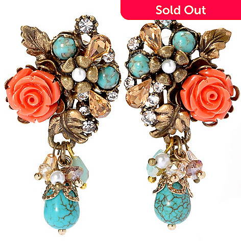 133-495 - Sweet Romance 2'' Magnesite, Crystal & Glass Bead Flower Clip-on Dangle Earrings