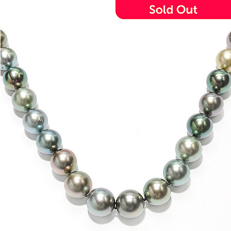 133-508 - 18K Gold 18'' 11-12mm Semi-Round Peacock Tahitian Cultured Pearl Necklace