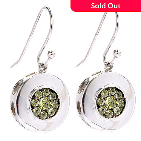 133-511 - Gem Insider™ Sterling Silver Spinel & Peridot Reversible Circle Drop Earrings
