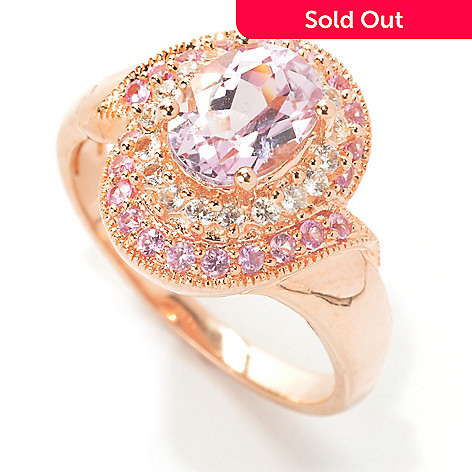 133-517 - NYC II™ 1.89ctw Kunzite, Pink Sapphire & White Zircon Halo Ring