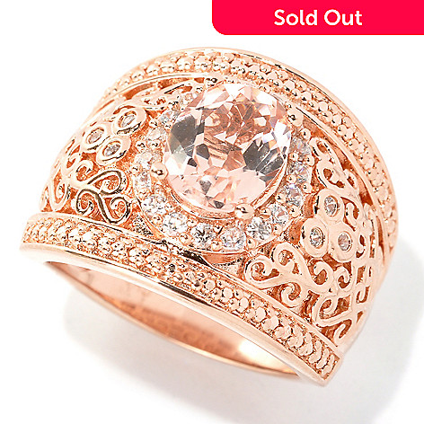 133-518 - NYC II™ 1.87ctw Morganite & White Zircon Wide Band Ring