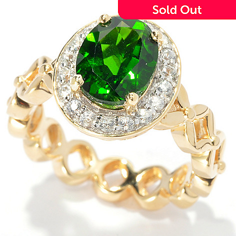 133-519 - NYC II® 2.72ctw Oval Chrome Diopside & Round White Zircon Flower Link Ring