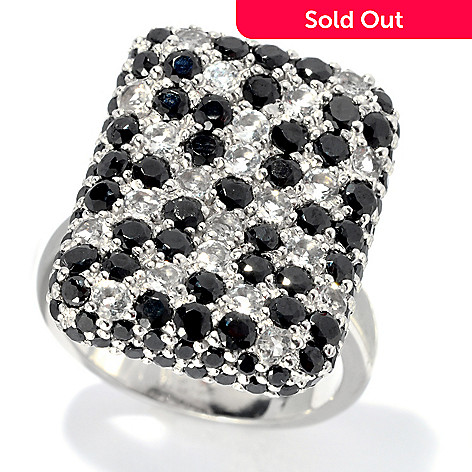 133-520 - NYC II™ 2.42ctw Black Spinel & White Topaz Polka Dot Ring