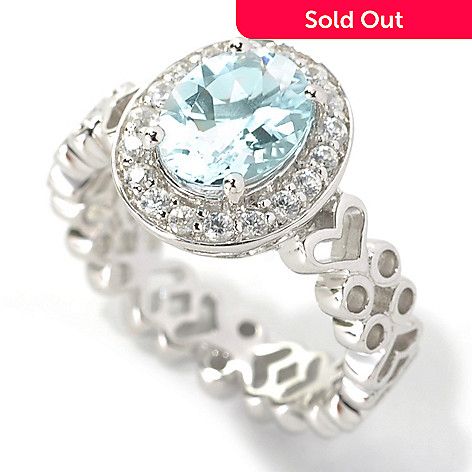 133-531 - NYC II™ 1.79ctw Oval Aquamarine & White Zircon Halo Ring