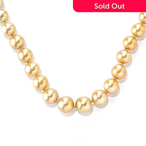 133-532 - 14K Gold 10-14mm Golden South Sea Cultured Pearl & Diamond Necklace