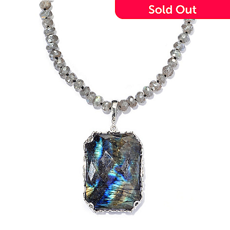 133-533 - Gem Insider® Sterling Silver Labradorite Enhancer & 36'' Beaded Necklace