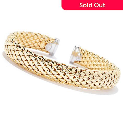 133-545 - Revalé™ 14K Bonded Two-tone 6.25'' Woven Cuff Bracelet