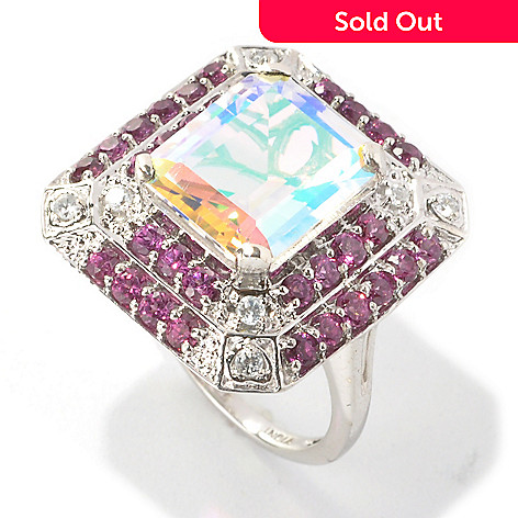 133-571 - NYC II™ 6.17ctw Emerald Cut Opalescence Quartz, Rhodolite Garnet & Zircon Ring
