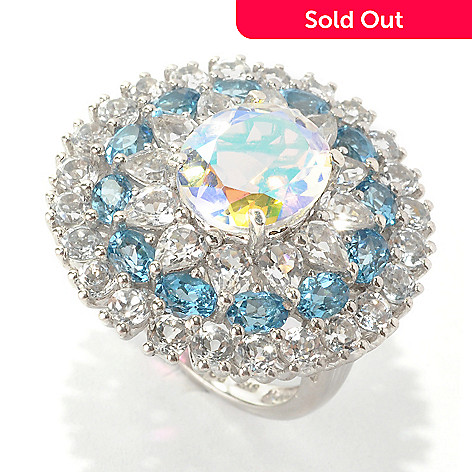 133-573 - NYC II 8.96ctw Opalescent Quartz, Swiss Blue Topaz & White Topaz Ring