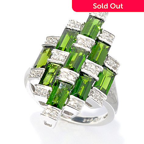 133-574 - NYC II™ 3.11ctw Baguette Chrome Diopside & White Zircon Tiered Ring