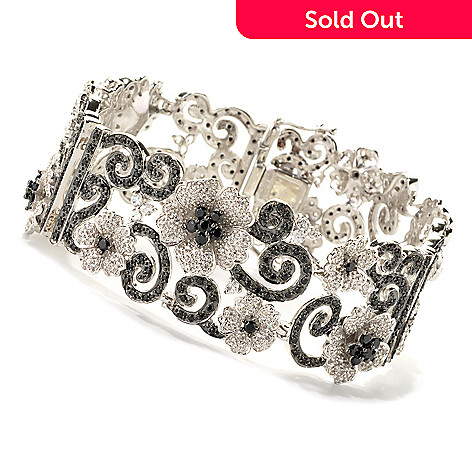 133-582 - NYC II 7.25'' Black Spinel & White Zircon Flower Link Bracelet
