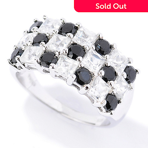 133-584 - NYC II 3.73ctw White Zircon & Black Spinel Three-row Checkerboard Ring