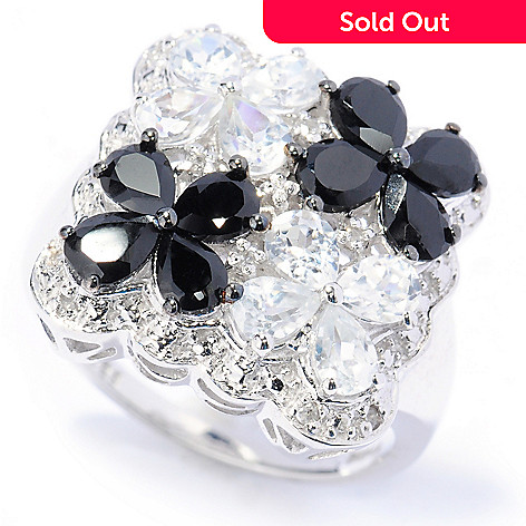 133-585 - NYC II™ 2.78ctw Black Spinel & White Zircon Four-Flower Ring