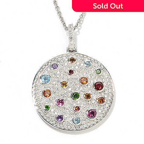 133-589 - Sonia Bitton Platinum Embraced™ Genuine Gemstone & Simulated Diamond Disk Pendant