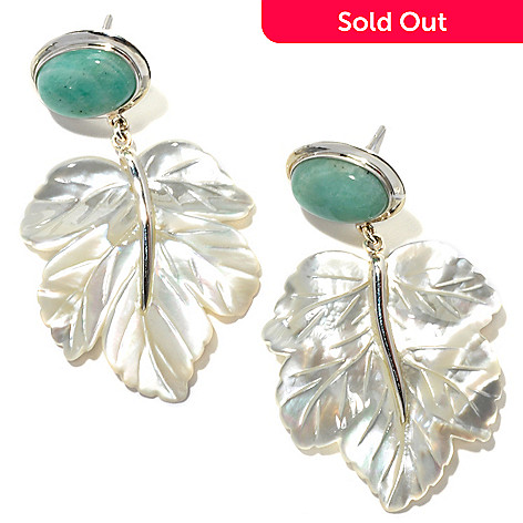 133-598 - Sterling Silver 2'' Oval Amazonite & 33 x 29mm Carved Mother-of-Pearl Leaf Earrings