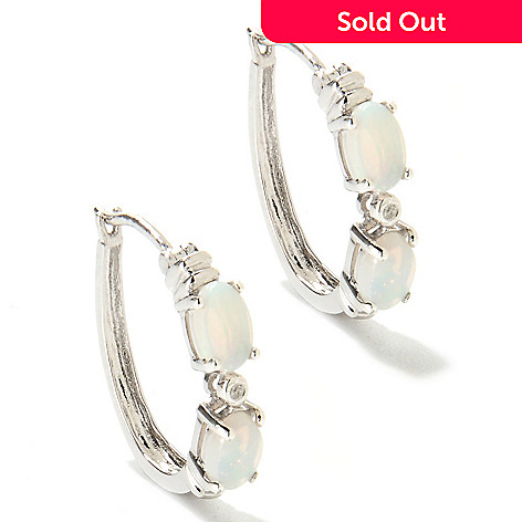 133-603 - Sterling Silver 6 x 4mm Opal & White Topaz Hoop Earrings