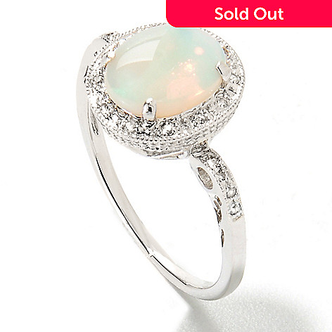 133-604 - Sterling Silver 9 x 7mm Oval White Opal & Topaz Ring