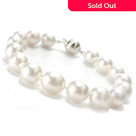 133-607 - Sterling Silver 7.75'' 9-11mm White South Sea Cultured Pearl Bracelet