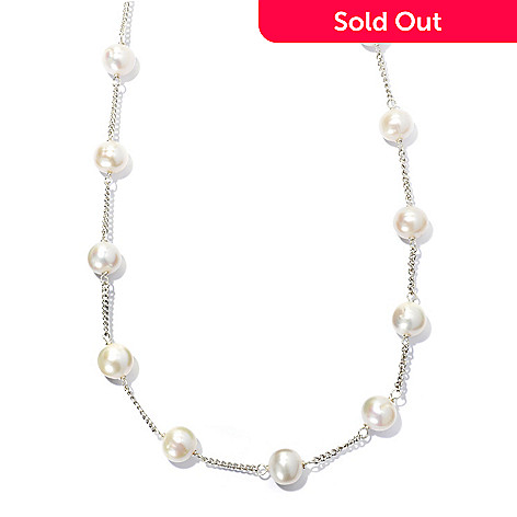 133-611 - Sterling Silver 20'' 8-9mm White Freshwater Cultured Pearl Station Necklace