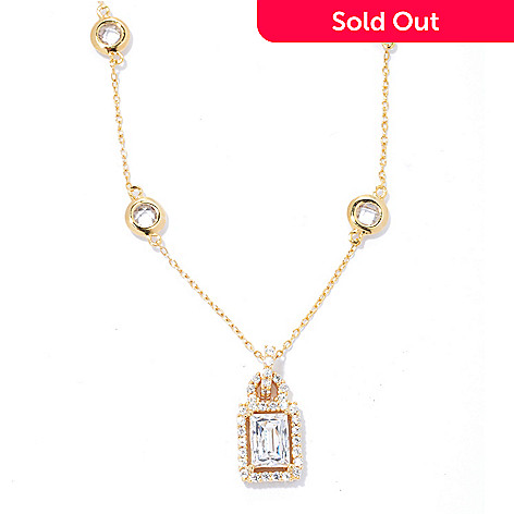 133-629 - TYCOON 2.36 DEW 18'' Rectangle & Bezel Set Station Simulated Diamond Halo Necklace