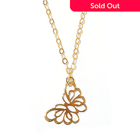 133-630 - Italian Designs with Stefano 14K Gold 18'' Polished Butterfly Necklace