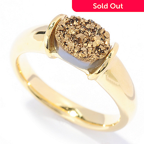 133-652 - Portofino Gold Embraced™ 8 x 6mm Drusy Stack Ring