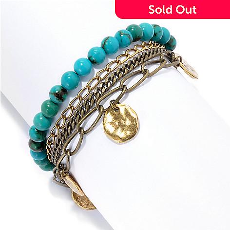 133-658 - mariechavez 6'' Beaded Gemstone Multi Strand Bracelet w/ 2'' Extender