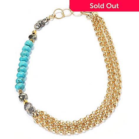 133-659 - mariechavez 20'' Turquoise & Pyrite Multi Strand Chain Link Necklace