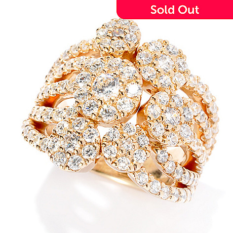133-661 - Sonia Bitton 2.36 DEW Round Simulated Diamond Cluster Flower Dream Fit™ Ring