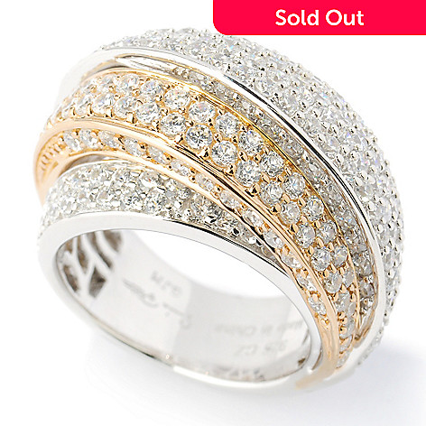 133-662 - Sonia Bitton Two-Tone Pave Set Simulated Diamond Multi Level Dome Ring