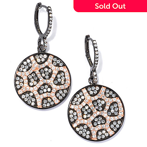 133-669 - Sonia Bitton 1.75'' Two-tone 3.87 DEW Simulated Diamond Web Overlay Drop Earrings